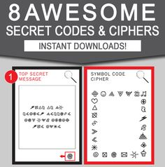 INSTANT DOWNLOAD - 8 Awesome Secret Codes for kids. Type your own secret messages and they will automatically encrypt to match the corresponding cipher!