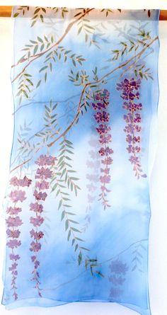 Hand Painted Silk Scarf Large Blue Silk Scarf di SilkScarvesTakuyo