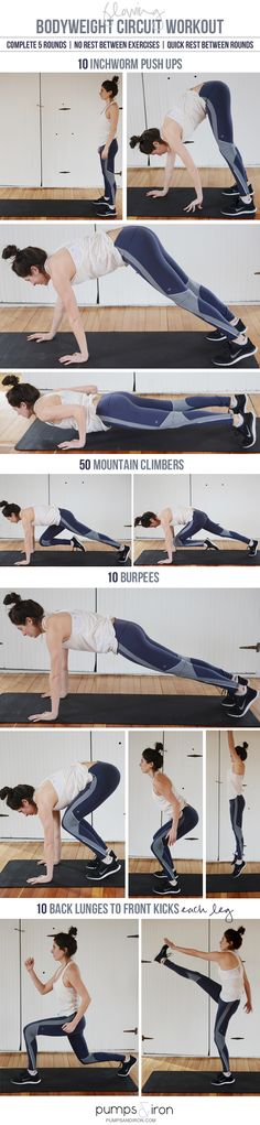 Flowing Bodyweight Circuit Workout - exercises are sequenced for smooth transitions and maximum burn Make sure to check out our fitness tips, nutrition info and more at https://www.getyourfittogether.org/