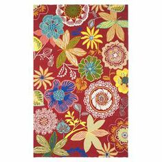 """Add a splash of garden-inspired style to your living room, porch, or patio with this hand-hooked indoor/outdoor rug.   Product: RugConstruction Material: PolypropyleneColor: Red and multiFeatures:  Suitable for indoor and outdoor useHand-hookedPile Height: 0.3""""Note: Please be aware that actual colors may vary from those shown on your screen. Accent rugs may also not show the entire pattern that the corresponding area rugs have.Cleaning and Care: Professional cleaning recommended"""