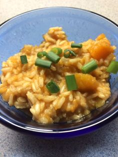 Pumpkin Pilaf*  1 c. long-grain brown rice 1 tbls butter 2 cups chix/vegetable broth 1 c. canned pumpkin (or pureed butternut squash) ¼ tsp. cinnamon 1 scallion, minced  In a saucepan over high heat, cook rice in melted butter stirring until coated.  Stir in broth, pumpkin, & cinnamon.  Bring to a boil.  Reduce heat to low, cover, and simmer for 30 minutes Makes 6 ½ cup servings.  159 calories, 4 g. fat, 27 carbs, 3 g. fiber, 3 g. protein.