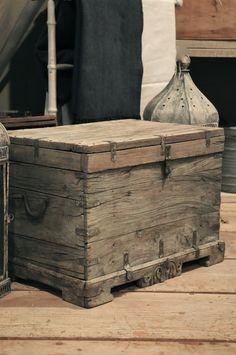 Rustic but elegant wooden trunk