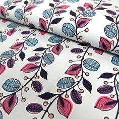 Stoff Blumen - Jerseystoff Blumenranke (Farbe: hellgrau) - ein Designerstück von Online-Stoffe-Werning bei DaWanda