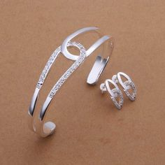 silver plated Jewelry Set Fine Fashion Zircon Charm Pendant Silver Jewelry sets Bangle Earring SMTS400