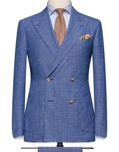 Medium Blue Glencheck. Cloth Weight: 250 gram Composition: 71% Wool, 15% Silk and 14% Linen.