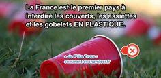 La France a franchi une nouvelle étape importante pour le respect de l'environnement. En effet, la France a interdit l'utilisation et la vente de couverts, assiettes et gobelets en plastique.  Découvrez l'astuce ici : http://www.comment-economiser.fr/la-france-est-le-1er-pays-a-interdire-vaiselle-en-plastique.html?utm_content=buffer64803&utm_medium=social&utm_source=pinterest.com&utm_campaign=buffer
