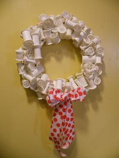 recycled spool wreath