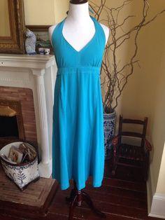 ATHLETA BLUE PACK EVERYWHERE HALTER DRESS WOMENS SIZE 16 TRAVEL POOL Cover Up XL #Athleta #Sundress #Casual #packeverywhere #travel #pool #beach #coverup #cruise #vacation #summer2015 #springbreak2015