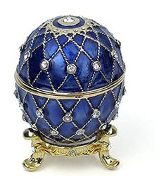 GoldTone Finish Lattice Pattern Cobalt Blue Faberge Style Egg Trinket Box 25 With Matching Egg Pendant >>> Continue to the product at the image link.