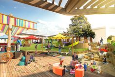 Kids Playground Equipment – Playground Fun For Kids Playground Flooring, Playground Design, Backyard Playground, Backyard Ideas, Daycare Design, School Design, Kids Play Spaces, Kindergarten Design, Kids Outdoor Play