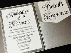 This listing is for a sample of a layered pocketfold wedding invitation with a glitter cardstock backing enclosed with a glitter belly band and a foil tag embellishment. Please note the sample can not