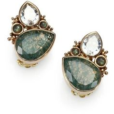 Stephen Dweck Moss Agate, Rock Crystal & Labradorite Cluster Clip-On Earrings