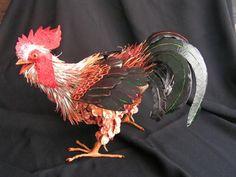 """Papier mache """"Rooster 1"""" by Scylla Earls"""