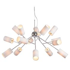 Bring antiquated charm to your home decor with this remarkable 15-light ceiling lamp. This fabric and metal lamp features a white finish for a complete design.