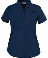 Butter-Soft Scrubs by UA™ Women's Solid Mandarin Collar Snap Front Scrub Top Scrubs Outfit, Scrubs Uniform, Housekeeping Uniform, Medical Uniforms, Hospital Uniforms, Nursing Uniforms, Uniform Advantage, Uniform Design, Nursing Dress