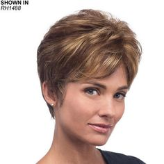 Kelley Monofilament Wig by Estetica Designs is a full-bodied pixie wig with a slight wave and a tapered nape.
