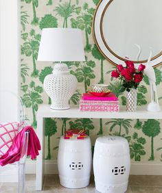 Console styling and Coconut Grove wallpaper | Adore