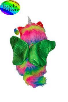 Kitchi Kitten Stuffed Animal Plus Toy Fun Colorful Kitten Unicorn With Green Wings. Rainbow Butterfly, Rainbow Unicorn, Green Wing, Kitten, Wings, Toy, Colorful, Animal, Create