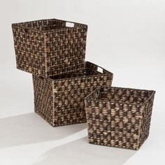 One of my favorite discoveries at WorldMarket.com: Espresso Caitlin Storage Basket Collection. I think the large one would be perfect to store blankets in the family room.