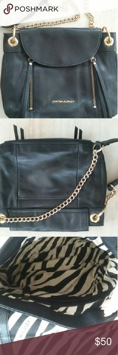 CYNTHIA ROWLEY LEATHER GOLD CHAIN CROSSBODY Just like new, no flaws at all!! Genuine, pebbled leather, durable gold cross chain. Cynthia Rowley Bags Crossbody Bags