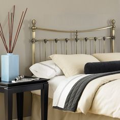 Leighton Bed - The Leighton Bed is an updated take of the traditional brass bed. This headboard has a classic shape with decorative finials and is made of durable...