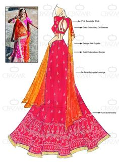 Lehenga Choli - Buy breathtaking lehenga choli design for wedding, party or festive occasions online from Cbazaar's latest collection of bridal, party, and festive wear lehenga. Dress Design Sketches, Fashion Design Sketchbook, Fashion Sketches, Fashion Illustrations, Pop Art Fashion, Fashion Models, Fashion Looks, Choli Designs, Blouse Designs