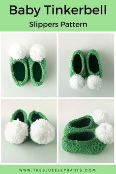 These baby Tinkerbell slippers are quick and easy to make, perfect for beginners! They use a simple pattern, and they can be done in 1 hour!