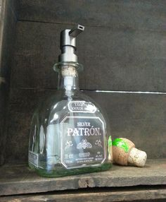 Patron Soap Dispenser  Made from Recycled Bottle by BottleRehab, $21.95-----Good idea for a boys room