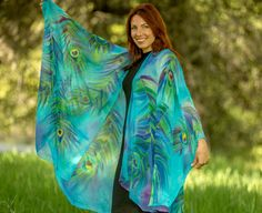 Hand painted silk clothing peacock silk cape by SilkArtbyLiene