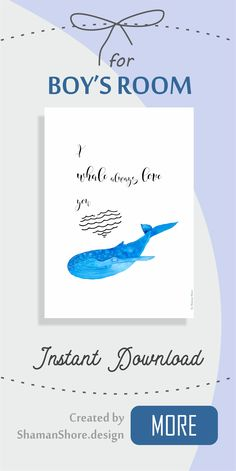 Boy's Room Blue Art, Nautical Nursery Wall Décor Whale Print I whale always love you, Blue Whale Wall Art Print, Digital Download Printable, Kids Whale Art Watercolor, Whale Décor Nursery Sea Animals