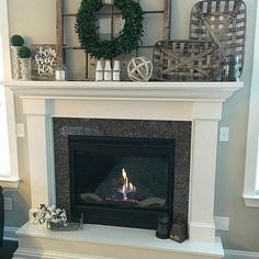 "ANTIQUE FARMHOUSE on Instagram: ""Love the whole setting! Gorgeous #mantelpiece. Our #antiquefarmhouse #cottonstems look great too. Thank you for sharing @coastalcraftymama…"""