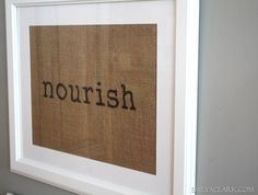 Framed burlap placemats. Totally DiY-able. - Emily A. Clark