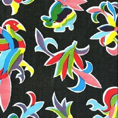 Black Oaxaca Oilcloth Fabric / Find your favorite Oilcloth at www.oilclothalley.com                 #Oilcloth #MexicanDecor #Fiesta