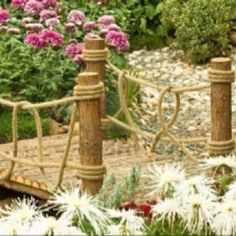 Chinese garden bridge-I would like the rope treatment on a slightly arched bridge for the island.