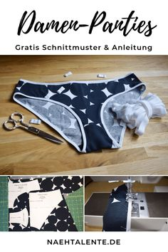 Free pattern for a ladies' panties made of jersey with foldable gum in Gr. 34 - Sew with our Sewing Patterns Free, Free Sewing, Clothing Patterns, Crochet Patterns, Free Pattern, Sewing Projects For Beginners, Sewing Tutorials, Sewing Tips, Sewing Hacks
