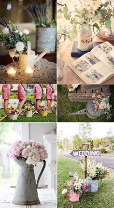 regaderas vintage bodas despedidas de soltera   wedding romantic garden metal container flower pot ornamentos accesorios ornaments watering water cans decoration