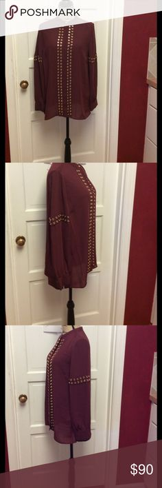 🎉HOST🎉PICK 🎈Merlot & gold button down blouse👚 Gorgeous new with tags Michael Kors button down blouse gold accents is a sheer blouse 👚 MICHAEL Michael Kors Tops Blouses