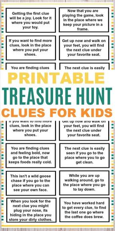 These printable treasure hunt clues for kids are a fun and easy kids activity. T… These printable treasure hunt clues for kids are a fun and easy kids activity. The clues are great for any family to use for a fun family activity. Kids Scavenger Hunt Clues, Easter Scavenger Hunt, Scavenger Hunt Birthday, Christmas Scavenger Hunt, Treasure Hunt Birthday, Clues For Treasure Hunt, Pirate Treasure Hunt For Kids, Treasure Hunt Riddles, Treasure Hunting