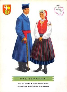 Find Man and woman wearing traditional clothes of Stroj Gostyninski ,Poland;Polish folk costumes in Postcards, Topicals & Categories, Ethnic/Costumes category on Playle's. Ethnic Outfits, Ethnic Clothes, Folk Clothing, Find Man, Great Paintings, Fantasy Costumes, Folk Costume, Traditional Outfits, Poland