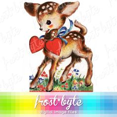 Fawn in the Flowers Clip Art Image instant digital by frostbyte (Art & Collectibles, Prints, clipart, clip art, image, deer, fawn, bambi, alpine, meadow, valentine, flowers, baby animal, woodland, kitsch)