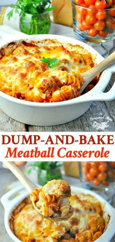 Just 5 ingredients for this easy Dump-and-Bake Meatball Casserole -- and you don't even have to boil the pasta! dinner casseroles Dump and Bake Meatball Casserole Meatball Casserole, Meatball Bake, Meatball Dish, Italian Recipes, Beef Recipes, Cooking Recipes, Meatball Recipes, Thai Recipes, Meat Recipes