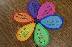 """You can go far with a little imagination and  some items from Dollar Tree! This pinwheel has reading comprehension questions on it. The teacher spins and the student says """"STOP!"""" Then, the teacher grabs a petal, and the student answers that particular question. Makes learning fun!"""