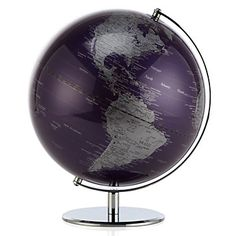 The traditional, functional world globe makes a new entrance with a dramatic flair in aubergine.