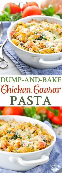 You don't even have to boil the pasta for this easy Dump-and-Bake Chicken Caesar Pasta! Easy Dinner Recipes | Chicken Breast Recipes | Dinner Ideas | One Dish