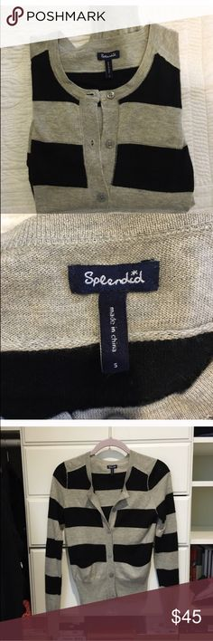 Splendid Cardigan Classic grey and navy stripe Cardigan. In excellent condition! Open to reasonable offers through feature. Splendid Sweaters Cardigans