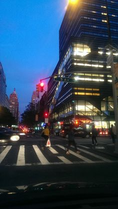 Fifth Avenue Red Light Stop Quick Shot, Night Falling on New York