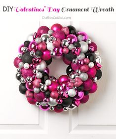 I've always loved Christmas Ornament Wreaths, and when I saw this collection of magenta, silver and black ornaments, I decided to DIY a Valentine's Day Ornament Wreath. It's not weird to make an Or…