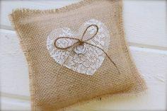 Burlap lace ring bearer pillow - burlap and heart pillow - custom heart via Etsy Ring Bearer Pillows, Ring Pillows, Ring Pillow Wedding, Wedding Pillows, Lace Ring, Ideias Diy, Cushion Ring, Heart Pillow, Burlap Crafts