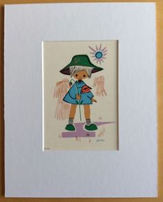 Jaklien Moerman Retro Postcard mounted and ready to frame Harvest Time