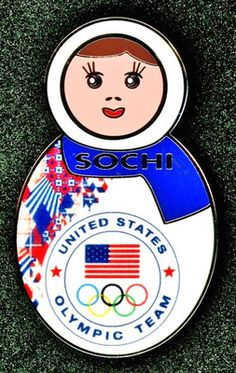 "Official 2014 Sochi Russia Olympic Team USA NOC ""Nesting Doll"" Pin Badge 